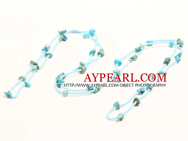 Fashion Long Style Turquoise Chips Blue Beads Necklace