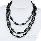 Wholesale Long style round and drop shape black agate necklace