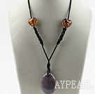 Simple style brown colored glaze and oval shape Indian agate pendant necklace