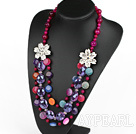 Multi Layer Pink Agate and Colorful Crystal Necklace