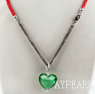 Wholesale New Design Heart Shape Green Colored Glaze Pendant with Red Cord
