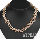Wholesale Classic Design Two Strands Top Drilled Pink FW Pearl Necklace