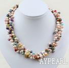 Wholesale 4 Strands multi color freshwater pearl twisted necklace with moonlight clasp