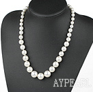 Wholesale white round 8-16mm seashell beads necklace with moonlight clasp