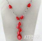 New Design Drop Shape Red Shell Y Style Necklace with Heart Shape Toggle Clasp