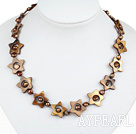 Wholesale 17.3 inches star shape shell with brown pearls necklace(heart toggle clasp)