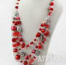 Assorted Multi Layer Red Coral Necklace with Lobster Clasp
