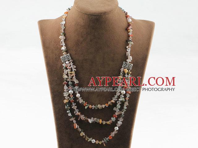 Three layer multi color rutilated quartz and white pearl necklace