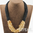 Bold style multi strand citrine necklace