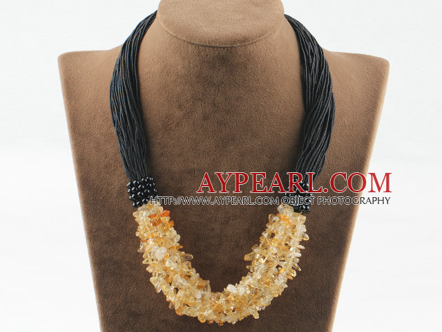 Fashion Bold Style Citrine Chipped Necklace With Multi Black Threads