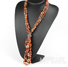 Wholesale Y shape three strand fillet agate chip necklace