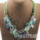 Wholesale Single strand rainbow fluorite necklace with green ribbon