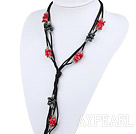 Long style Y shape black freshwater pearl and red coral necklace with black thread