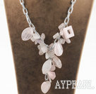 Wholesale Y shape assorted multi shape rose quartz necklace with bold metal chain