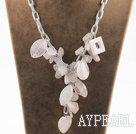 Wholesale Y shape assorted multi shape rose quartz necklace with bold metal chain