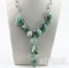 Wholesale Y style aventurine stone necklace with bold metal chain