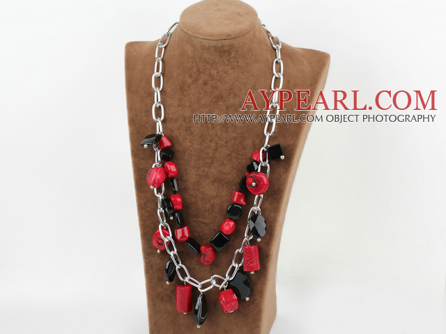 Double layer red coral and black agate necklace with metal chain