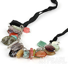 Y shape assorted multi gemstone and crystal and turquoise necklace with black ribbon