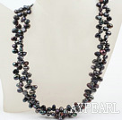 Wholesale Classic Design Two Strands Top Drilled Black FW Pearl Necklace