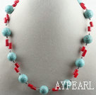 Single strand assorted turquoise and red coral necklace with lobster clasp