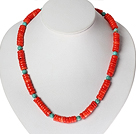 Disc Shape Red Coral och turkos halsband