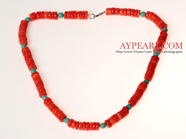 Disc Shape Red Coral and Turquoise Necklace