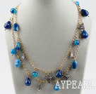 Wholesale Double strand assorted multi shape blue agate necklace with golden color chain