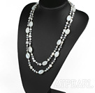 Long style white freshwater pearl crystal and white colored glaze necklace