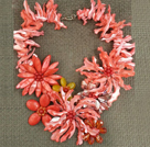 Amazing Beautiful Watermelon Red Shell Flower Statement Party Necklace