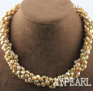 Wholesale Multi strand champagne color freshwater pearl twisted necklace with magnetic clasp