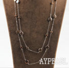 Long style dark brown coin pearl necklace with metal chain