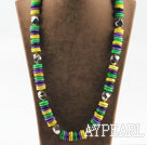 Single strand multi color dyed turquoise disc necklace