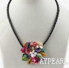Enkelt Piece Multi Color Pearl Shell Flower halskjede
