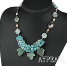 Wholesale beautiful pearl amazon stone necklace with extendable chain