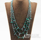 Wholesale Three strand greena gate and blue tourmaline necklace with lobster clasp