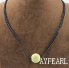 Simple style round shape lemon jade pendant necklace with black thread
