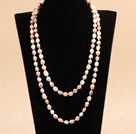Graceful Long Style Double Strand 8-9mm Natural White & Pink & Purple Freshwater Pearl Necklace (Sweater Chain)