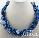 Wholesale Multi Strands Dark Blue Freshwater Pearl and Dark Blue Shell Bubble Necklace