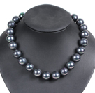 Charming Style Pretty 16mm Round Black Seashell Beads Choker Necklace
