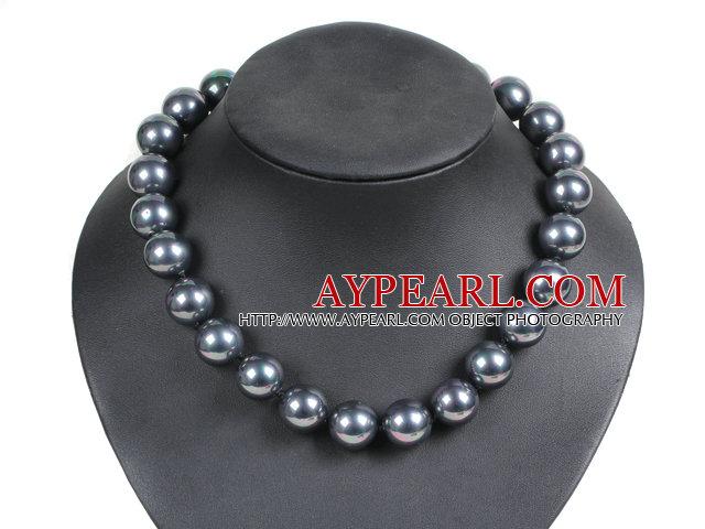 Charming Style Pretty 16mm Round Black Seashell Beads Choker Necklace