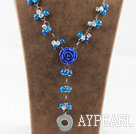 Wholesale Y shape blue agate and white crystal and blue acrylic flower necklace