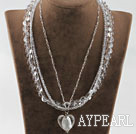 Wholesale hot 17.7 inches multi strand clear crystal necklace with heart pendant