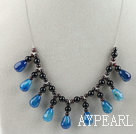 Wholesale Drop shape blue agate and round garnet necklace with lobster clasp