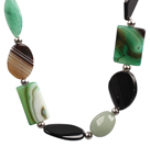 Wholesale Aventuine and Green Agate and Black Agate Chunky Necklace