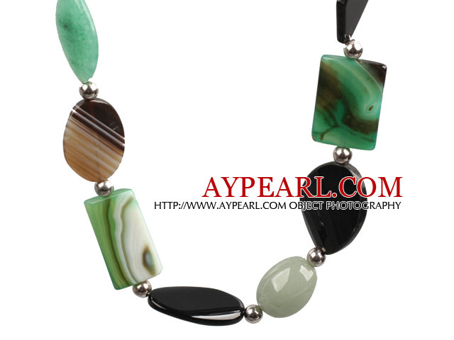 Aventuine and Green Agate and Black Agate Chunky Necklace