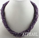 Wholesale 17.7 inches multi strand dark purple crystal necklace with magnetic clasp