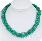 Wholesale 17.7 inches multi strand lake green crystal necklace with magnetic clasp