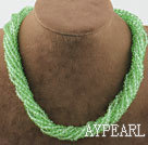 Wholesale 17.7 inches multi strand light green crystal necklace with magnetic clasp