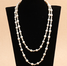 Graceful Long Style Double Strand Natural White Freshwater Pearl Necklace (Sweater Chain)