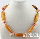 Wholesale Single strand orangle yellow color bucket shape agate necklace